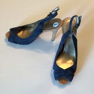 Guess Blue Suede and quark Bottom Heels